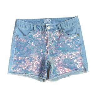 Justice Jean shorts blue and pink sequins